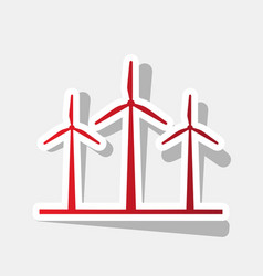 Wind turbines sign new year reddish icon vector