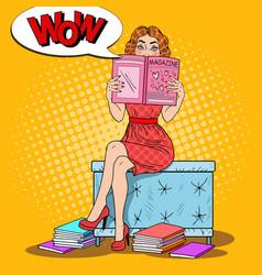 Woman reading fashion magazine pop art vector