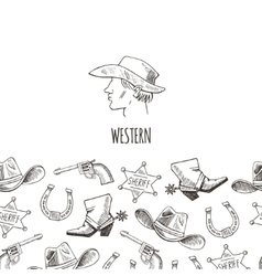 Western hand draw sketch set vector image