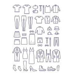 Female and male casual clothes garment outline vector