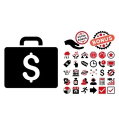 Accounting case flat icon with bonus vector