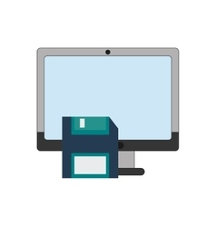 Computer and floppy disk icon vector