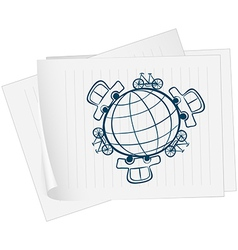 A paper with an image of a globe surrounded by vector image
