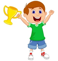 Boy cartoon holding gold trophy vector