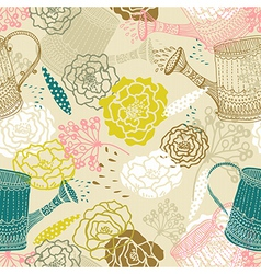 Seamless floral background with watering can vector