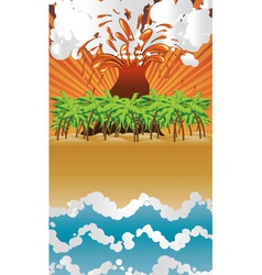 Cartoon volcano island vector