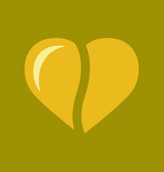 Flat icon on background coffee bean heart vector