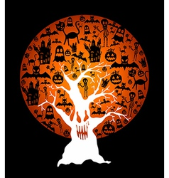 Happy halloween full moon and spooky tree eps10 vector