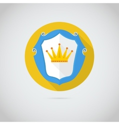Flat icon with golden crown vector image