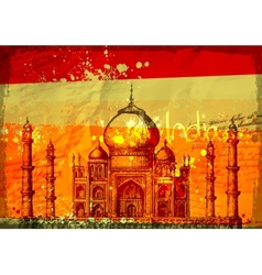 Taj Mahal India vintage hand drawn vector image