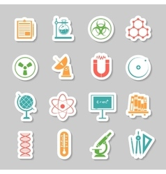 Science stickers icons set vector