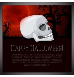 Big halloween banner with white human skull on vector