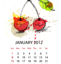 calendar for 2012 with fruit january vector image