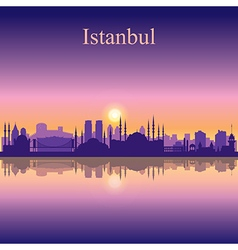Istanbul silhouette on sunset background vector