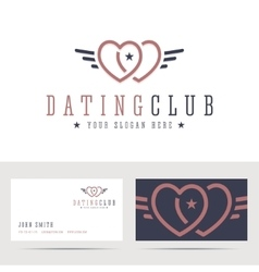 Dating club logo and business card template vector