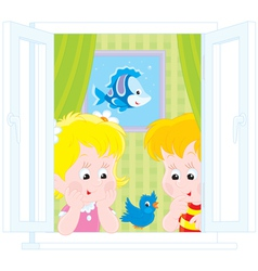 Girl and boy play with a sparrow vector