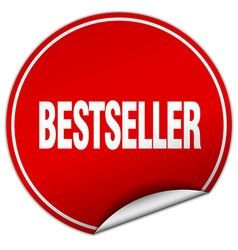Bestseller round red sticker isolated on white vector