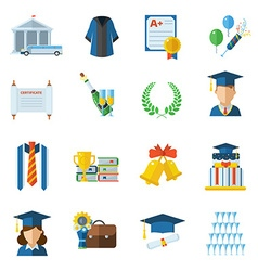Graduation day icons vector