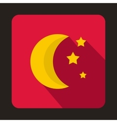 Moon and stars icon flat style vector