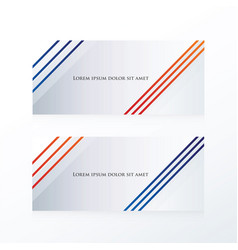 Abstract line banner blue red vector