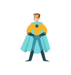 Boy superhero in classic comics costume standing vector