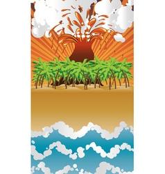 Cartoon volcano island vector image vector image
