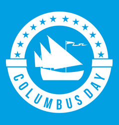 Columbus day icon white vector