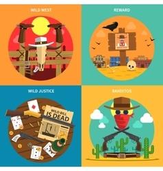 Cowboy Concept Set vector image vector image