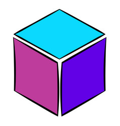 Cube icon cartoon vector
