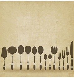 Cutlery tableware set old background vector