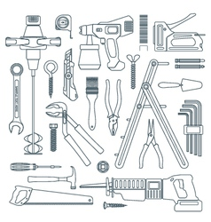 dark outline various house remodel instruments set vector image
