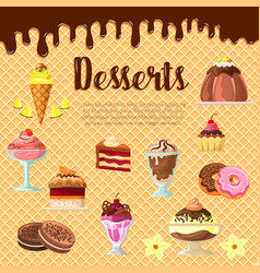 Desserts and cakes on chocolate waffle vector