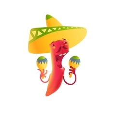 Happy chili pepper character in sombrero playing vector