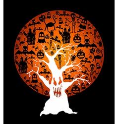 Happy halloween full moon and spooky tree eps10 vector