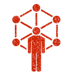 Human network grunge icon vector
