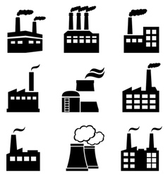 Industrial buildings factories and power plants vector image
