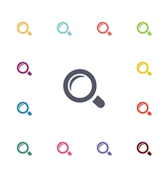 magnifier flat icons set vector image vector image