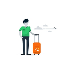 Man with baggage at the airport waiting flight vector