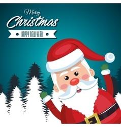 merry christmas card santa claus funny vector image