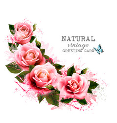 natural vintage greeting card with roses vector image vector image