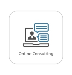 Online consulting icon flat design vector