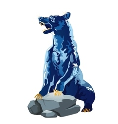 Realistic bear made of ice glittering blue figure vector