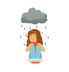Sad girl character sitting under stormy rainy vector