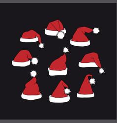 santa claus red hats vector image vector image