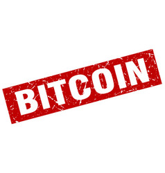 Square grunge red bitcoin stamp vector