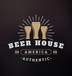 Three glass of beer vintage retro design elements vector