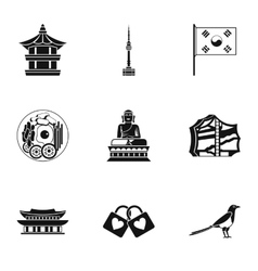 Tourism in south korea icons set simple style vector