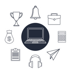 White background with silhouette tech laptop set vector