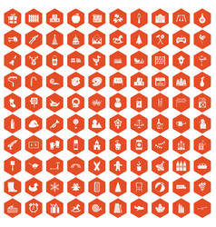 100 preschool education icons hexagon orange vector