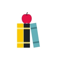 Books and apple icon flat style vector image